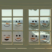 DCTOP Snowmen Face Peel and Stick Wall Decals