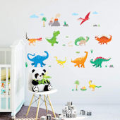 Decowall Colorful Dinosaur Wall Decals
