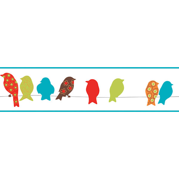 Red Bird On A Wire Border - Wall Sticker Outlet