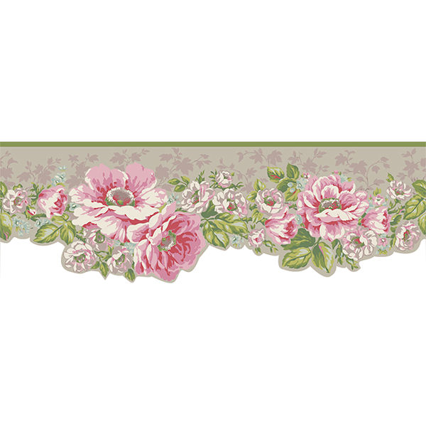 grey victorian garden wallpaper border