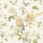 Ivory Tropical Birds With Magnolias Wallpaper