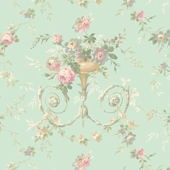 Light Blue Floral Urn Sidewall Wallpaper