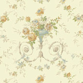 Light Yellow Floral Urn Sidewall Wallpaper
