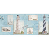 Light Blue Seacoast Lighthouse Border