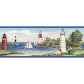 Blue Lighthouse and Sailboat Border