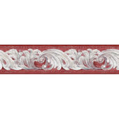 Red Architectural Scroll Border