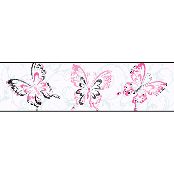 White Butterfly Scroll Border