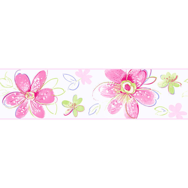 Pink Bohemian Floral Border - Wall Sticker Outlet