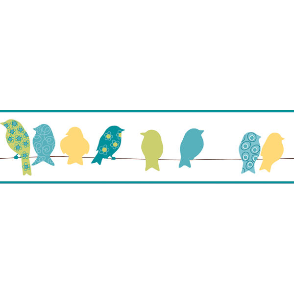 Green Bird On A Wire Border  Wall Sticker Outlet