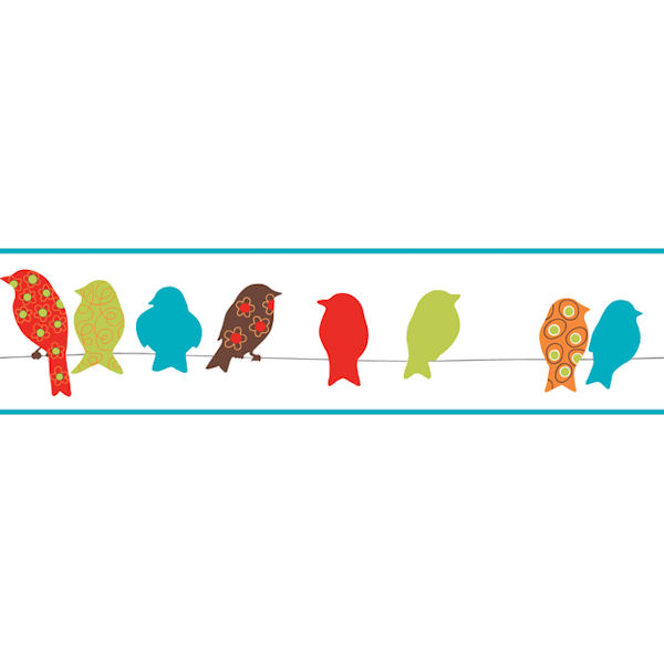 Red Bird On A Wire Border  Wall Sticker Outlet