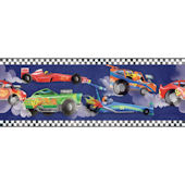Navy Blue Race Car Border
