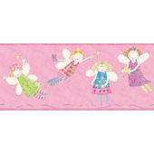 Pink Angel Fairies Border