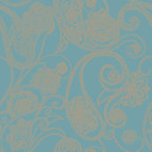 Metallic Gold Dotted Paisley Wallpaper