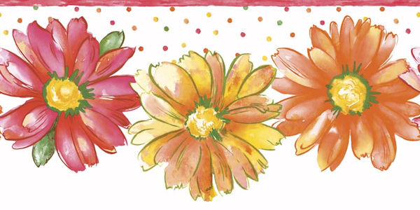 Daisy Floral Citrus Die Cut Border
