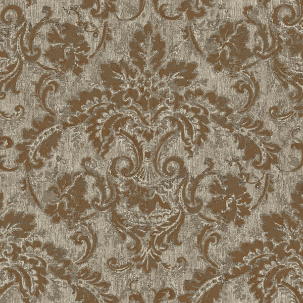 Copper and grey antique damask wallpaper for Old french wallpaper