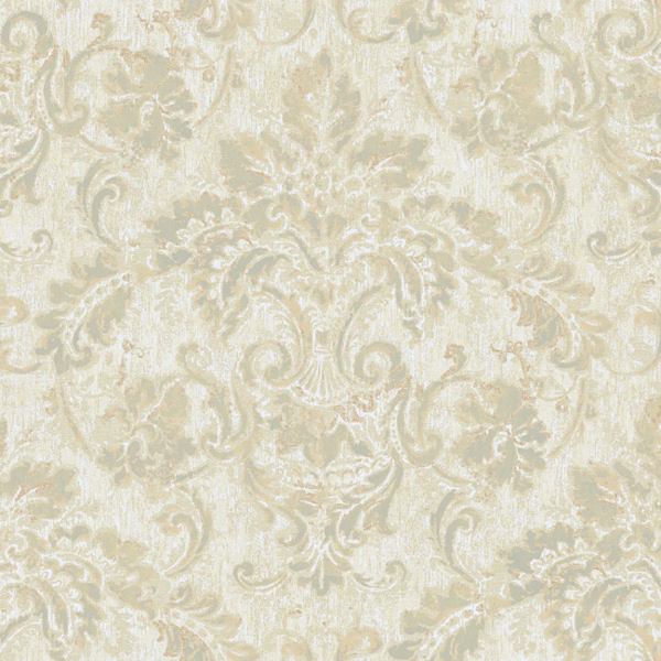 Cream And Grey Antique Damask Wallpaper