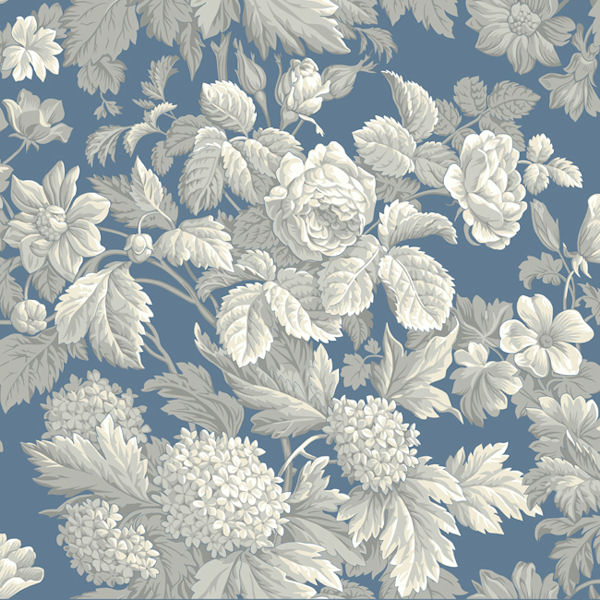 Blue And Grey Antique Floral Wallpaper