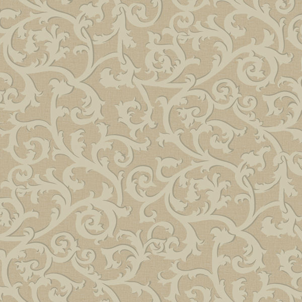 gold and beige scroll with texture wallpaper