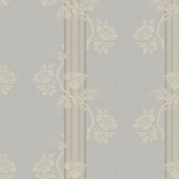 Grey Floral Stripe Wallpaper