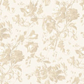 Cream and Beige Floral Trail Toile Wallpaper SALE