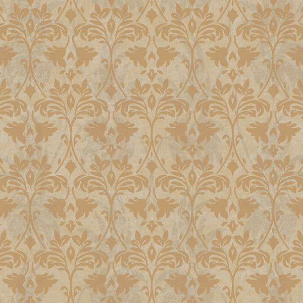 metallic gold and grey drybrush damask wallpaper