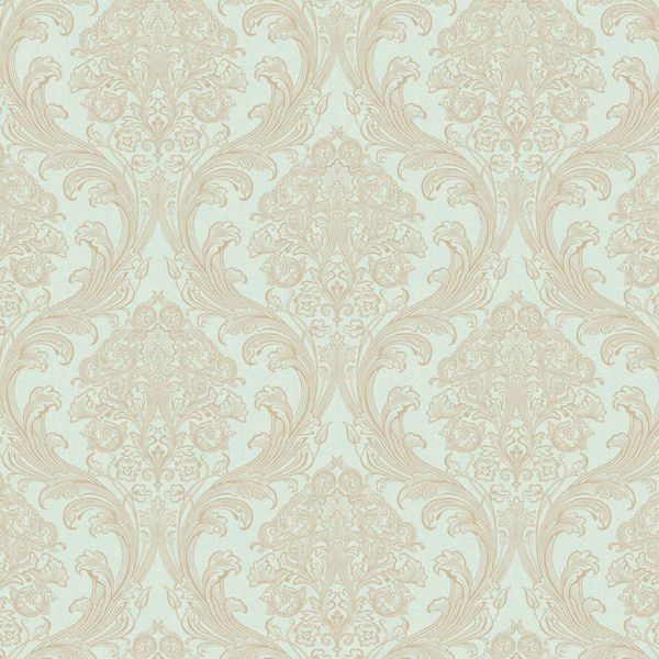 green with gold architectural damask wallpaper