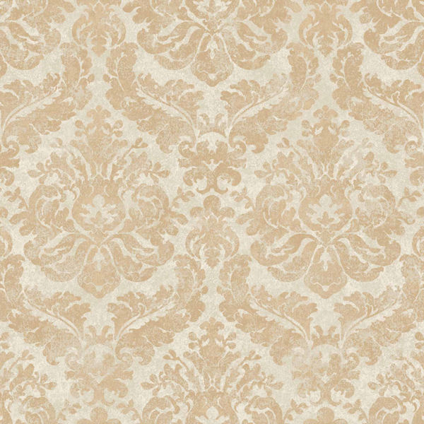 Gold and cream feathery damask wallpaper for Cream wallpaper for walls