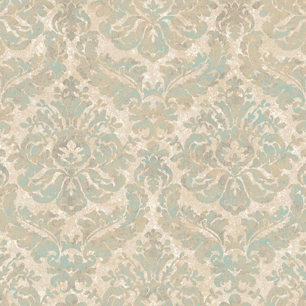 green and beige feathery damask wallpaper
