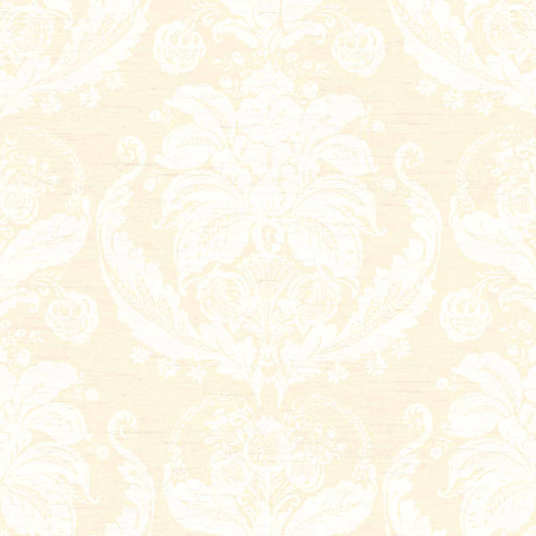Cream and Beige Harvest Damask Wallpaper