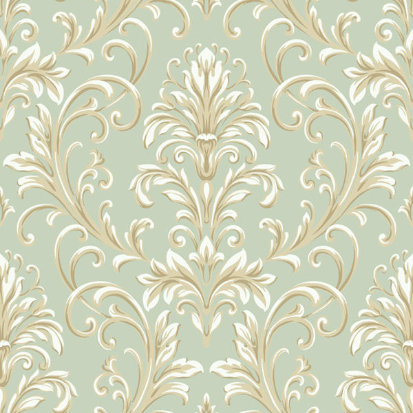 green and gold feathered damask wallpaper