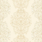 Cream Ornate Damask Stripe Wallpaper