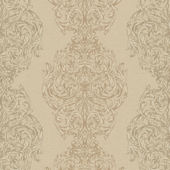 Beige Ornate Damask Stripe Wallpaper