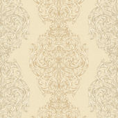 Taupe Ornate Damask Stripe Wallpaper