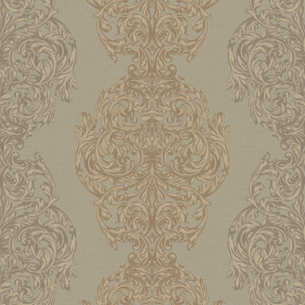 metallic gold ornate damask stripe wallpaper
