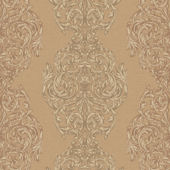 Brown Ornate Damask Stripe Wallpaper