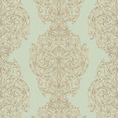 Green Ornate Damask Stripe Wallpaper