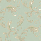 Green Promenade Scroll Wallpaper