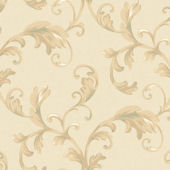 Cream Promenade Scroll Wallpaper