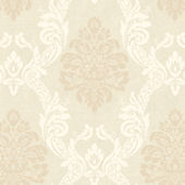 Beige Ogee Damask Wallpaper