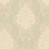 Green Ogee Damask Wallpaper