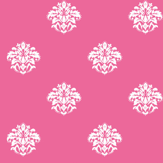 Pink and brown damask background pink with white damask spot