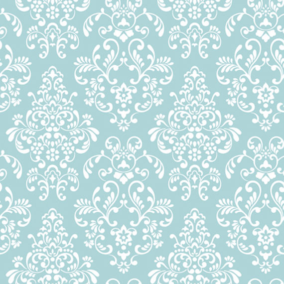 Blue Delicate Document Damask Wall Paper