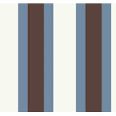 Blue and Brown Triple Treat Stripe Wallpaper SALE