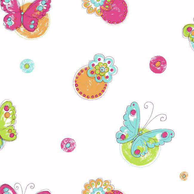 Butterfly Circle White Wallpaper - Wall Sticker Outlet