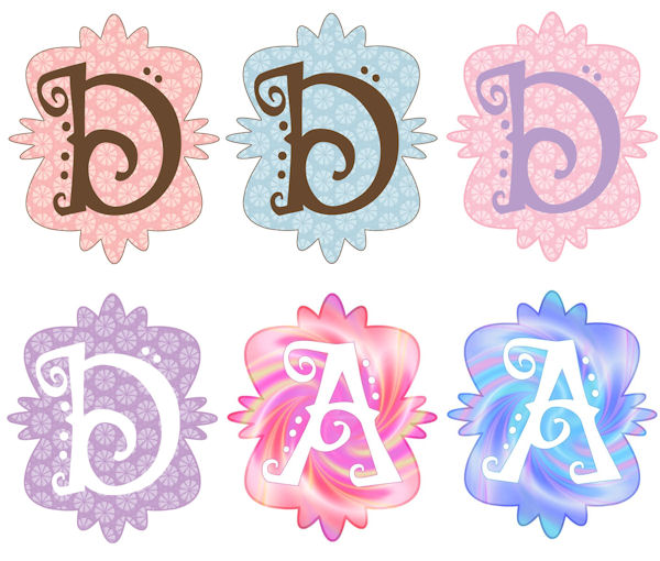 Mod Monogram D Wall Sticker in 6 Colors - Wall Sticker Outlet
