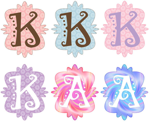 Mod Monogram K Wall Sticker in 6 Colors - Wall Sticker Outlet