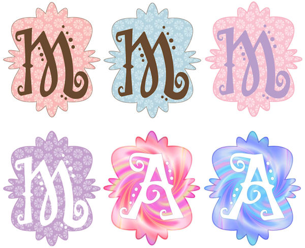 Mod Monogram M Wall Sticker in 6 Colors - Wall Sticker Outlet