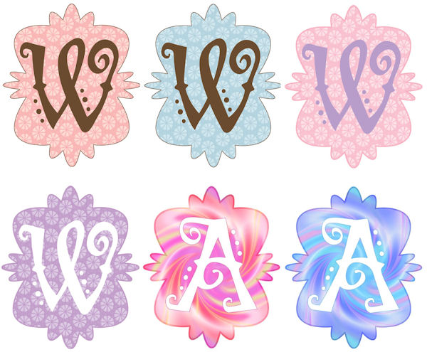 Mod Monogram W Wall Sticker in 6 Colors - Wall Sticker Outlet