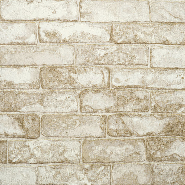 off white and brown rustic brick wallpaper