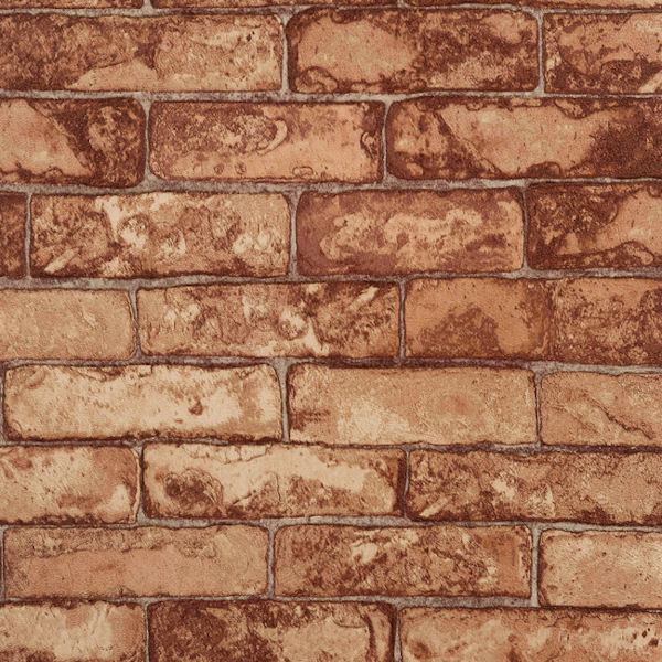Copper Rustic Brick Wallpaper - Wall Sticker Outlet
